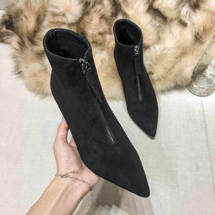 MLJUESE 2020 women ankle boots Velvet zippers pointed toe winter short plush high heels boots women socks boots party dress