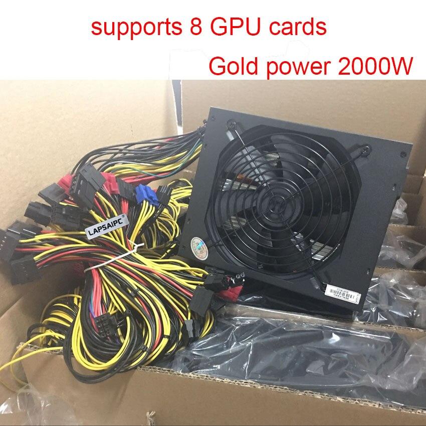 Поддерживает 8 GPU карт, блок питания 2000 Вт 95 Plus Gold ATX12V V2.31 ETH Coin Miner power для antminer l3 Ethereum S9 S7