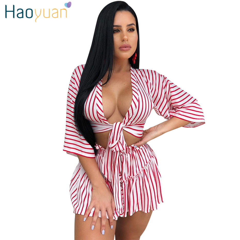 HAOYUAN Sexy Two Piece Set 2019 Striped Bow Tops And Shorts Sweat Beach Suits Casual Tracksuits Summer Outfits 2 Piece Set Women