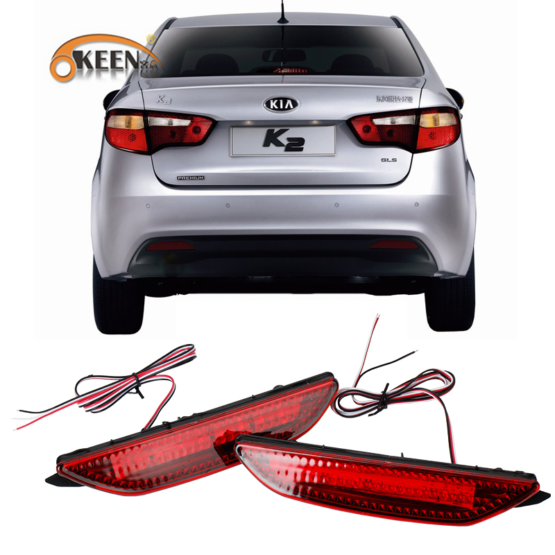 OKEEN 2PCS Car Red Len Rear Bumper Reflector LED Stop Brake Light Tail Fog Parking Lamp for Kia K2 sedan 2012 2013 2014 image