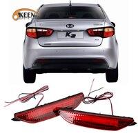 OKEEN 2PCS Car Red Len Rear Bumper Reflector LED Stop Brake Light Tail Fog Parking Lamp
