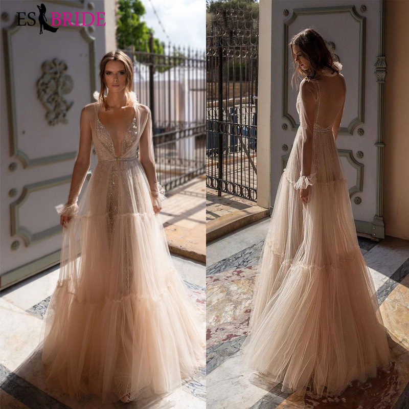 Apricot Evening Dresses A-lineformal Evening Gowns Elegant A-line Sexy Deep V-neck Prom Dresses Long Sleeve Evening Gown ES2641