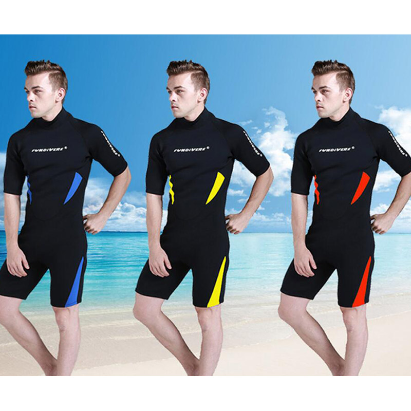 ФОТО Men's Neoprene 3mm Scuba Wetsuit Short Sleeve Spearfishing Surfing Diving Swimming Jumpsuit Diving Suit L-3XL 3 colors
