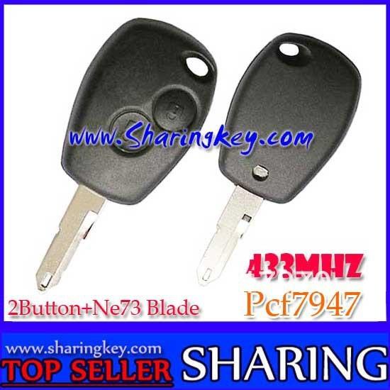 Free Shipping (5pcs/Lot )   2 Button  Remote Key PCF7947 Chip Ne73 Blade 434MHZ For Renault Megane Laguna Cilo  Scenic