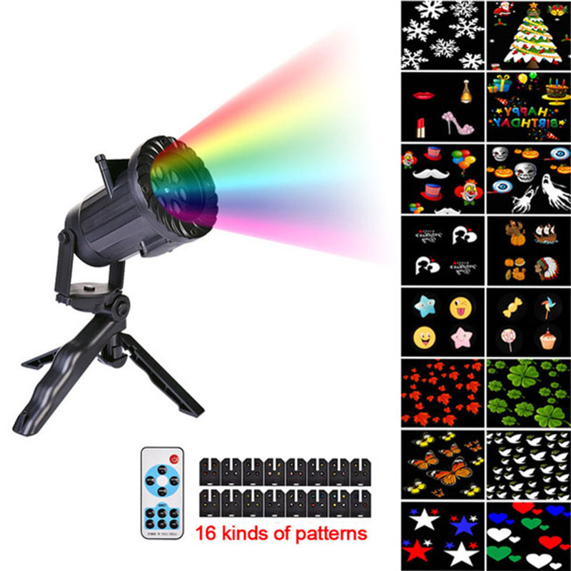 Christmas Lights Waterproof LED Projector 16 Film Cards Laser Fairy Light Projection Family Christmas New Year's Decor For Home цена