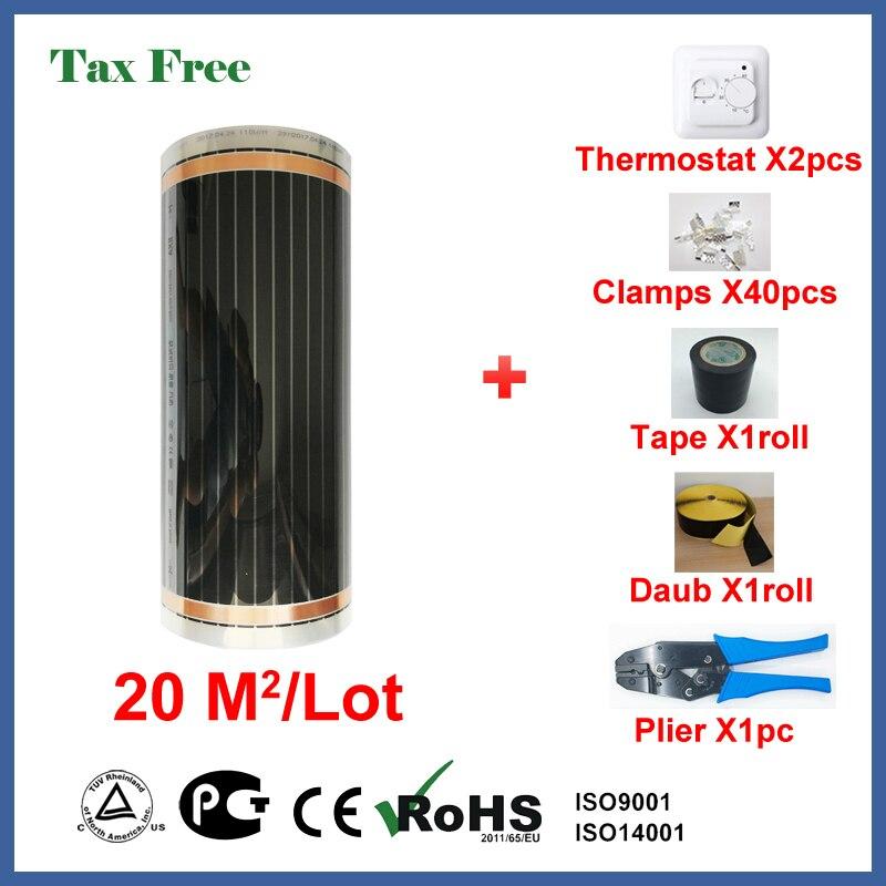Налогов под пол, пленочный 20 квадратных метров, 220 Вт/квадратный инфракрасный обогреватель с Оптовая цена