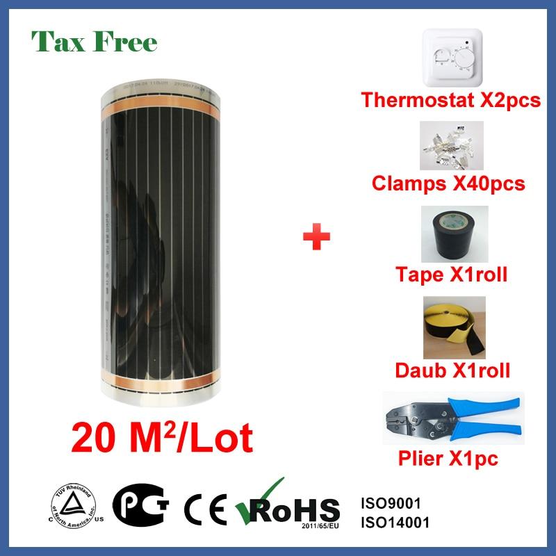 Exempt d'impôt chauffage au sol film 20 mètres carrés, 220 W/Carré infrarouge appareil de chauffage avec prix de gros