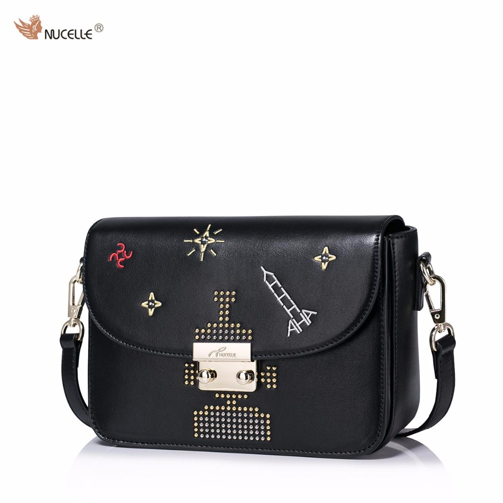 ФОТО NUCELLE Brand New Design Fashion Cosmic Rivets Lock Robot PU Leather Women Lady Shoulder Crossbody Flap Bags Gift For Girl