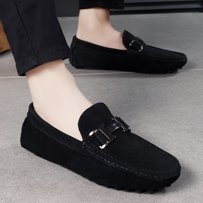 Shoes Men Loafers Soft Moccasins spring Autumn Genuine   suede     Leather   Shoes fashion breathable brand Men Flats Gommino Shoes k3