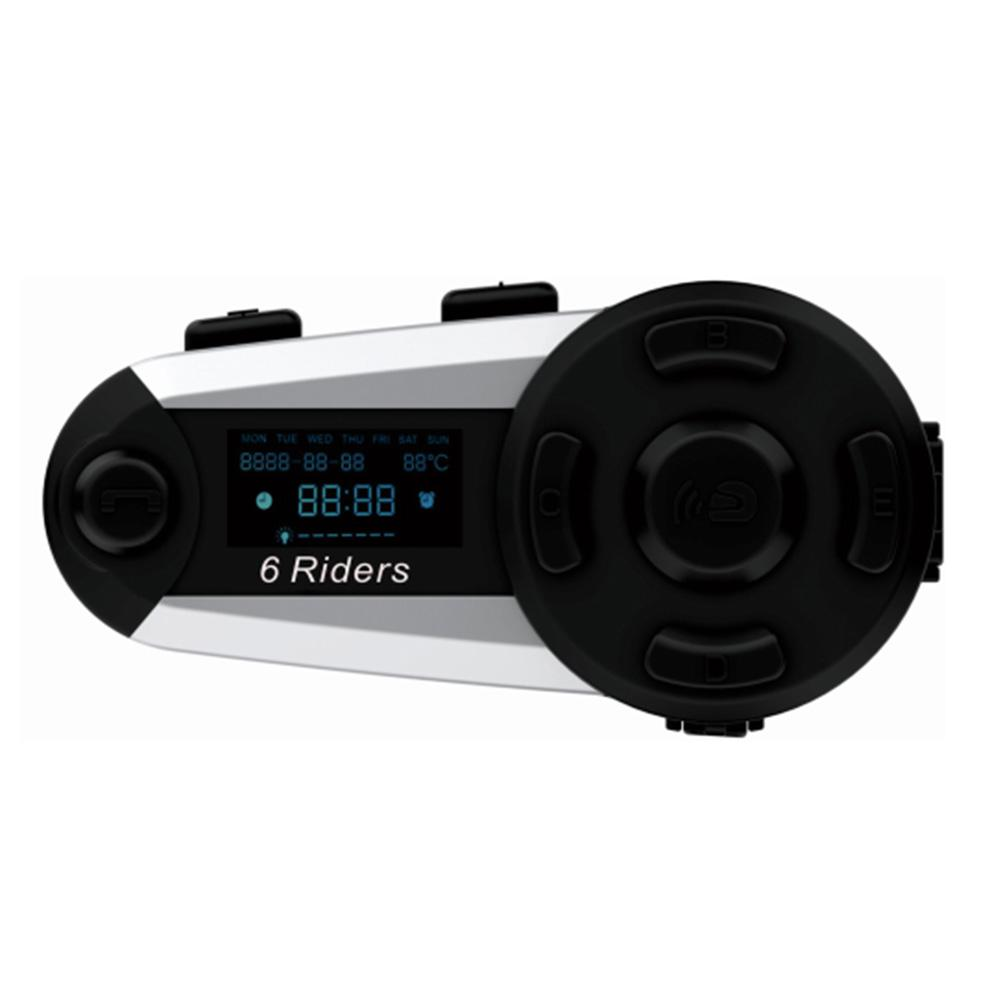 1200M Wireless Bluetooth Intercom Headset Motorcycle Helmet High Power Full Duplex Headset 6 Riders FM Waterproof Interphone