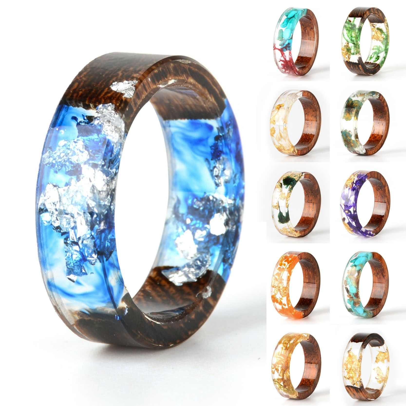 Handmade DIY romantyczny suszone prawdziwy kwiat drewna pierścień z żywicy złota folia wewnątrz pierścienia kobiety Wedding Party pierścień prezent dla ukochanej osoby