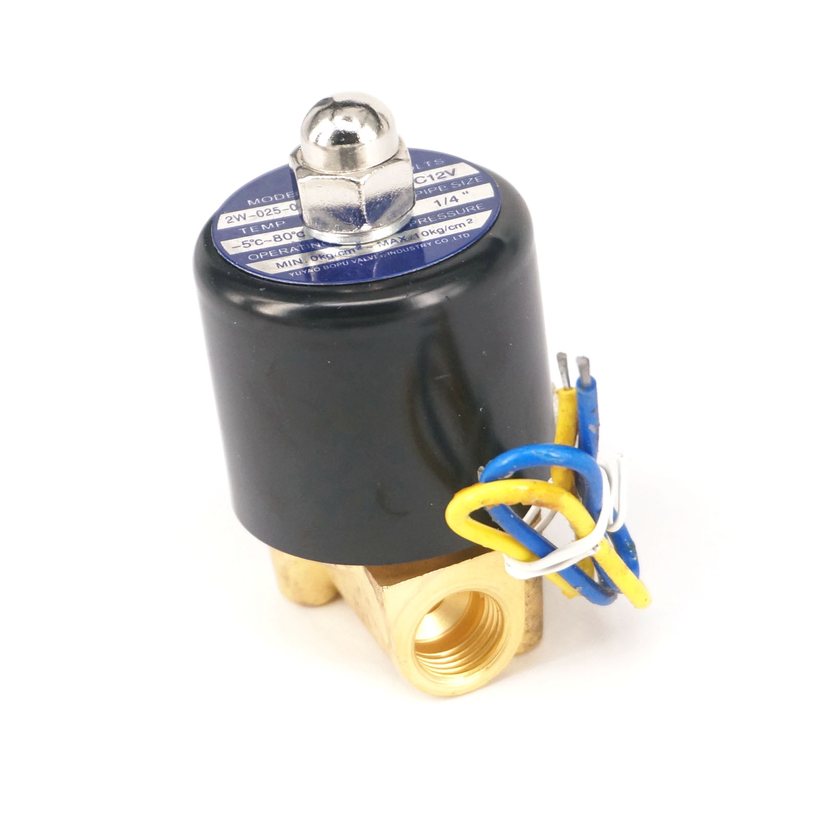 DC12V N/C 2 Way 1/4BSP Gas Water Pneumatic Electric Solenoid Valve Oil 2W-025-08 Wire Lead Type 3 8 electric solenoid valve water air n c all brass valve body 2w040 10 dc12v ac110v