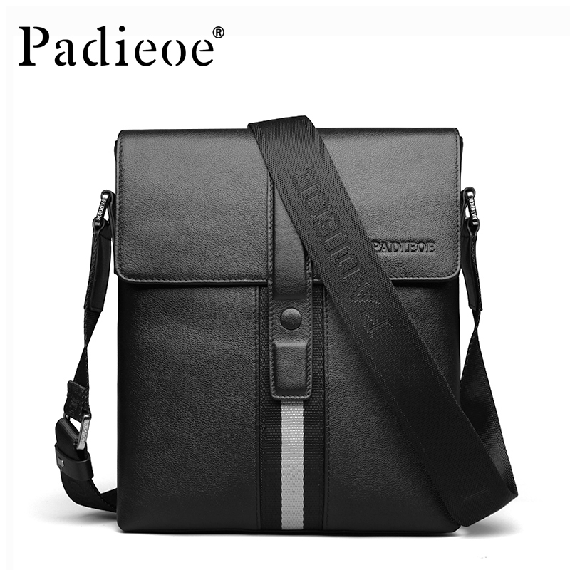 Padieoe 2016 Men's Shoulder Bags Genuine Leather Crossbody Bag Fashion European Designer Messenger Bag For Male Black Bolsas 2016 european