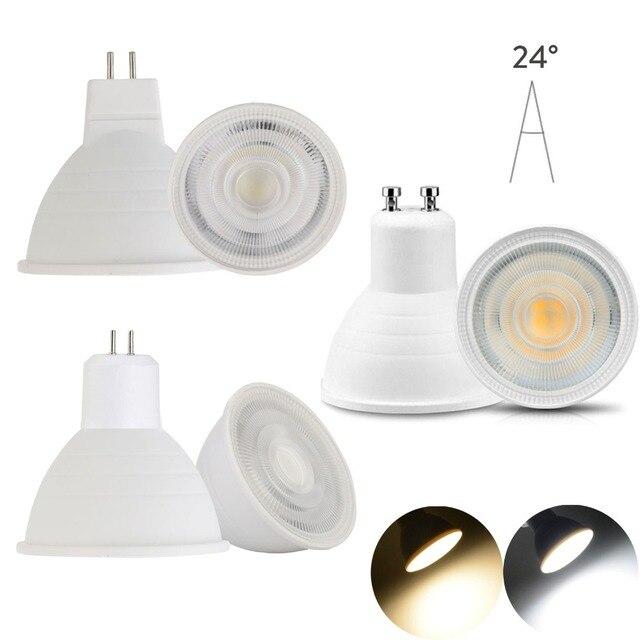 10 개/몫 LED 전구 스포트 라이트 Dimmable GU10 MR16 GU5.3 110 V 220 V COB 칩 빔 각도 30도 스포트 라이트 테이블 램프