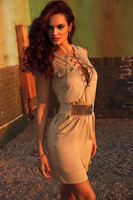 New 2015 Summer Mini Dresses Elegant Women Working Style Dress Sleeveless Luxe Faux Suede Dress LC22484