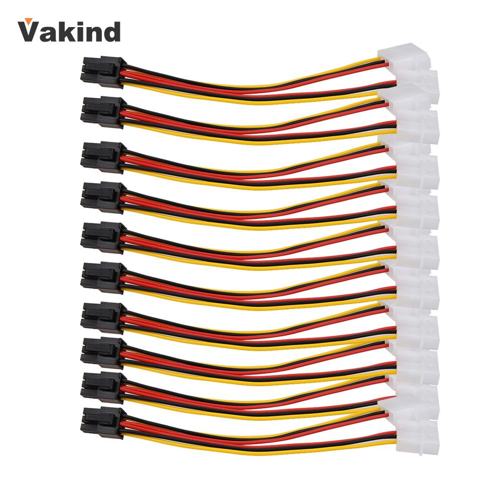 10pcs Molex 4 Pin to PCI-E PCI Express 6 Pin Power Converter Adapter Cable Connector Power Supply High Quality Promotion New win8 10 mac android ftdi ft232rl usb rs232 db9 serial adapter converter cable