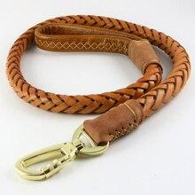 Laisse pour chien en cuir véritable, laisse pour chien tressé, chaîne pour chien tressée, faite à la main, ceinture dentraînement Extra large, pour Husky Golden Retriever