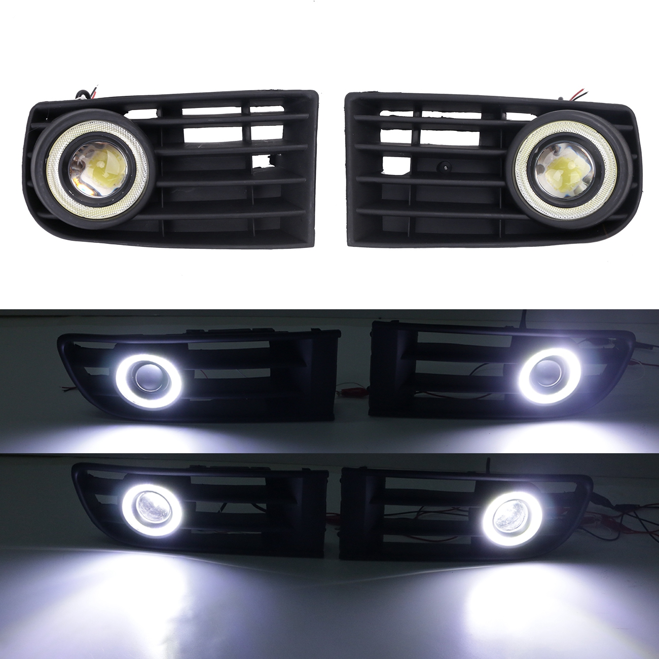 LED Fog Lights Lamp DRL Angel Eyes Front Bumper Grille Kit For VW Golf GL GLS GTI TDI Mk5 Rabbit 2003 - 2009 #P363 front bumper fog lamp grille led convex lens fog light angel eyes for vw polo 2001 2002 2003 2004 2005 drl car accessory p364