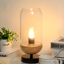 купить Modern Glass Lamp Shade Desk Lamp Bedside Night lamp E14 Led Bulb Minimalist Parlor Table Lamp Study Reading Light Wood 110-220V по цене 4103.27 рублей