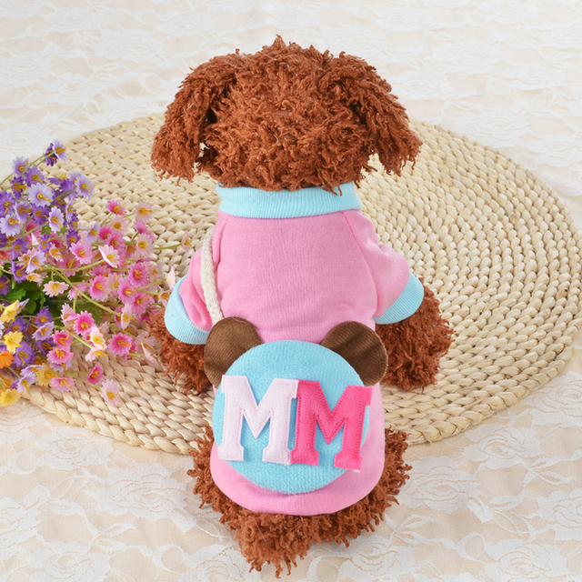 Size XS / S / M / L / XL  New Cute Words Pet Clothes Small Dogs Clothing Puppy Spring Summer Sweater Dog Blue Pink Sweaters