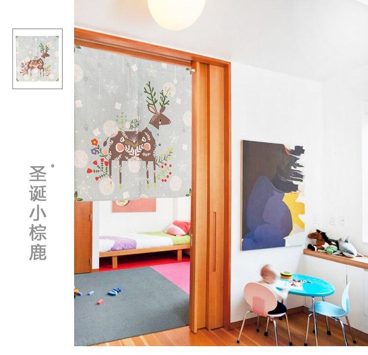 Japan Stil Cartoon Kinder Weihnachten Hirsch Tur Vorhang Dekoration Halbschatten Hangen Schlafzimmer Wohnzimmer Kuche Home Bar In