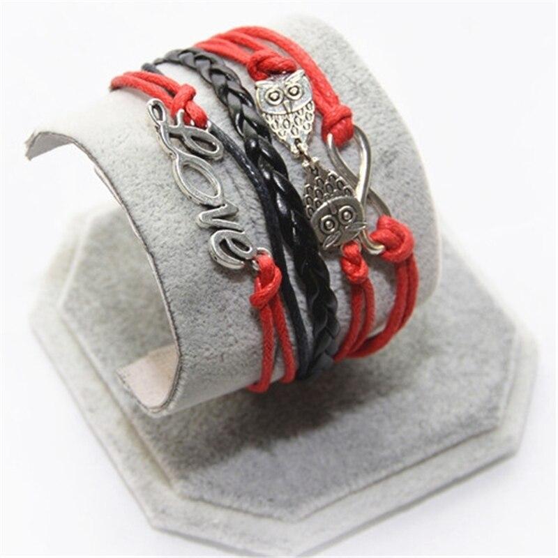 L0206 New Hot 2016 Popular Multilayer Braided Bracelets Vintage Love nighthawk Multicolor Woven Leather Bracelet Bangle girl - BILL JEWELRY CO,.LTD Min order $8 store