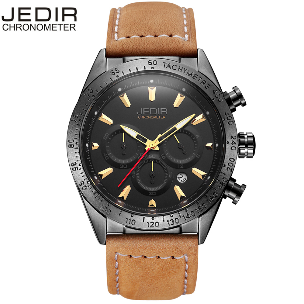 JEDIR Fashion Chronograph Sport Mens Watches Top Brand Luxury Quartz Watch Reloj Hombre 2017 Clock Male hour relogio Masculino eyki reloj hombre fashion mens watches top brand luxury leather quartz watch luminous sport men wrist watch male clock black