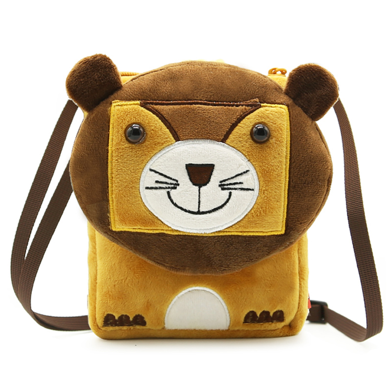 Cute Lion School Bags Soft Plush Fabric Cartoon Animal Design For Baby Boys Girl Crossbody Shoulder Bag Children Messenger Pouch
