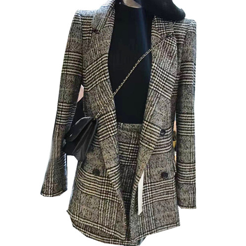 autumn 2 piece set women long sleeve jacket coat women outwears plaid tweed skirts suit set women two piece outfits plus size