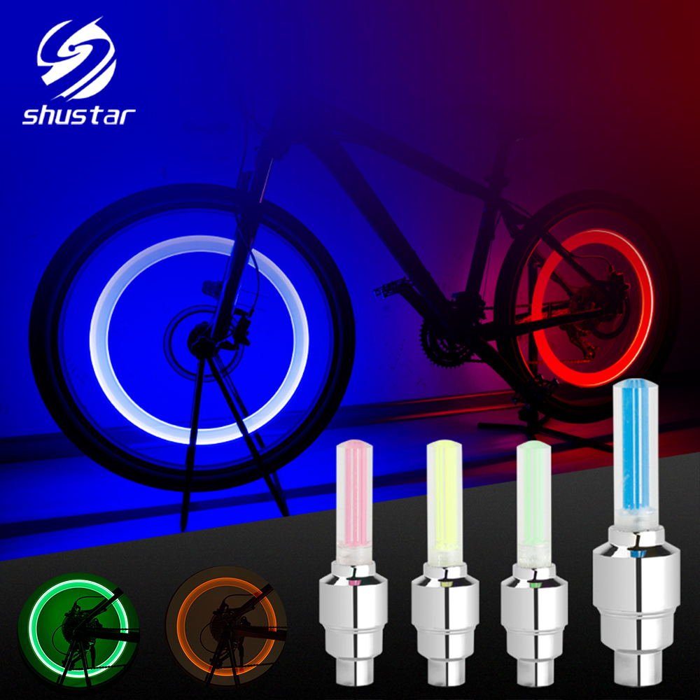 LED Illuminate Bicycle Light Neon Tire Gas Nozzle Valve Core Glow Stick LED Lights Outdoor Bicycle Wheel Light Bike Accessories