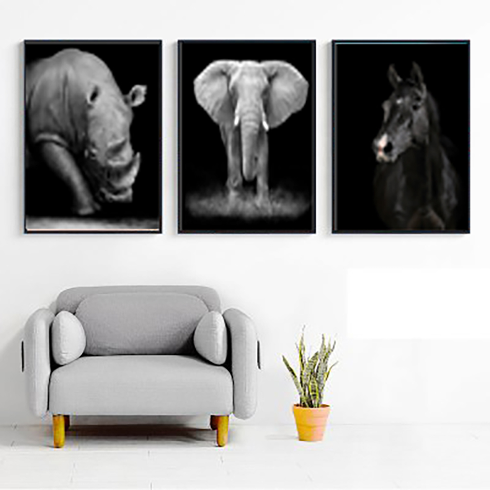 Lion zebra rhinoceros Elephant Canvas Painting Animal Home Decor painting no photo frame hotel gallery decor new home gift sale in Painting Calligraphy from Home Garden