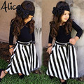2017 New Summer wear Girls Casual TOPS + Maxi Long Skirts Clothing Set Suit Girls Clothe Fashion wear headband+belts 4pcs/set
