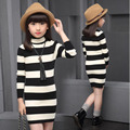 2017 girls spring new girls stripe sweater big children's han edition s long knit sweater dress autumn for kids sweater fashion