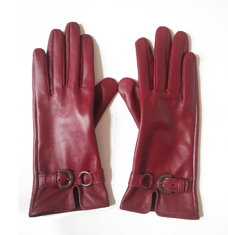 Women's Natural Sheepskin Leather Touchscreen Driving Gloves Female Genuine Leather Buckle Gloves R1087