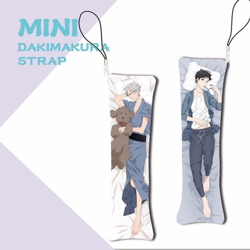 Anime YURI!!! On ICE Mini Dakimakura Yuri Katsuki Victor Nikiforov Keychain Pillow Hanging Decoration Phone Strap 1PCS