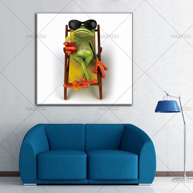 Abstrakte Bilder Auf Leinwand wandkunst trinken frosch bild handgemachte moderne tiere malerei