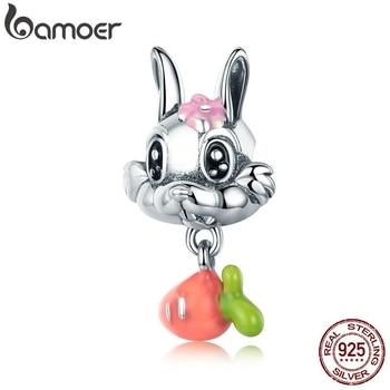 BAMOER New Arrival 925 Sterling Silver Cute Carrot & Rabbit Dangle Charm fit Girls Charm Bracelet DIY Jewelry Girls Gift SCC324 фото