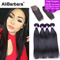 Alibarbara Uprocessed Peruvian Virgin Hair 5pcs Lot Hair Bundles with Lace Closure Peruvian Straight Hair Extension with Closure