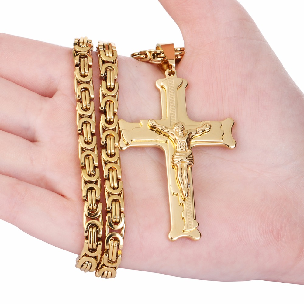 Gold Color Stainless Steel Jesus Cross Pendant Necklace 6mm Link ...