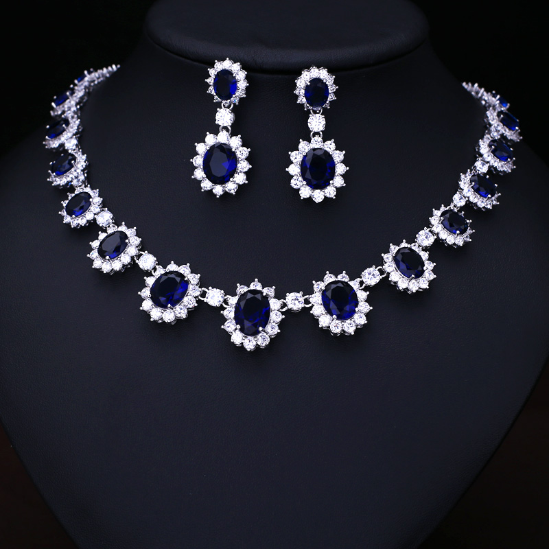 Blue Fashion AAA Cubic Zircon Wedding Jewelry Sets ,Earrings /Necklace,Promotion,Nickel Free, Factory price