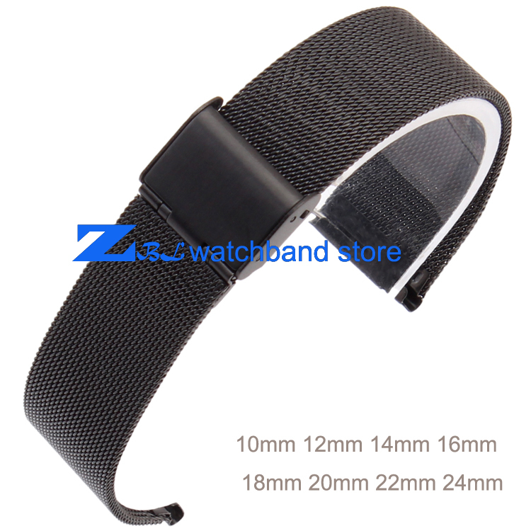10mm 12mm 14mm 16mm 18mm 20mm 22mm 24mm ultradünne Schwarz edelstahl Armband Mesh-armband breite Armbänder Uhren band