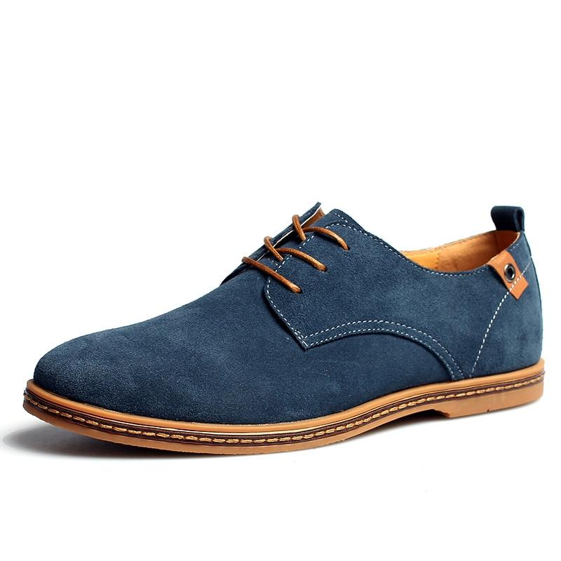 Hot 2019 vårhöst mäns stora storlek casual skor man mode mocka läder Oxfords skor man snörning solid dagliga stora lägenheter