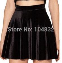 East Knitting 2017 Women High Waist Velvet Pleated Skirts New Fashion Velvet Black Short Sexy Skater Skirt 3 Colors Plus Size