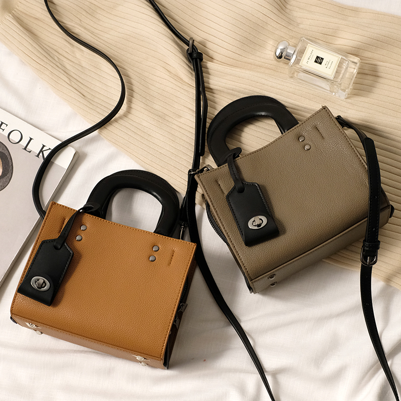 2018 new style split joint color genuine leather mini loco Bag shoulder Slung handbag Woman bag : 91lifestyle