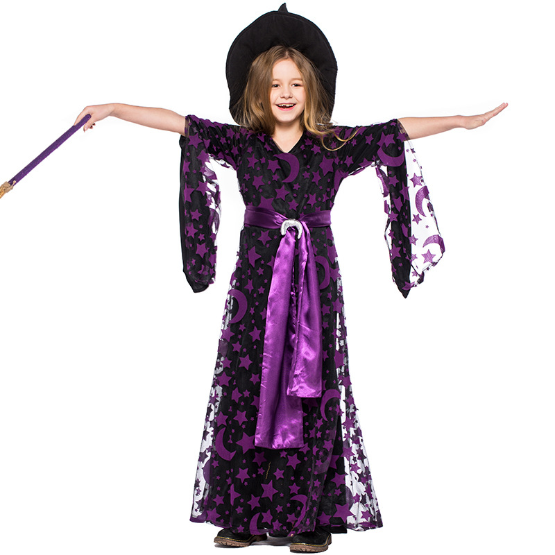 Girls Black Star Moon Stamp Witches Dress Costumes Suit With Hat For Kids Halloween Party Dress Costume Cosplay