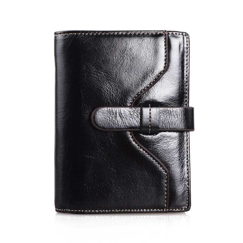 Women Short Cowhide Leather Wallet Female Korean Minimalist Oil Wax Purse Leather Ladies Genuine Leather Wallets