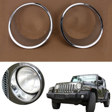 for Jeep Wrangler JK Unlimited 2/4-Door 2007-2017 Chrome Headlight Trim Ring Car Front Lower Headlamp Cover Surround #CEK075