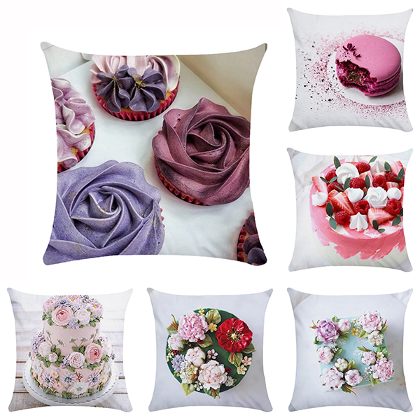 45cm Pink Girl Flower Cake Pattern Cushion Cover For Girls Dessert Cake Home Decoration Square Sofa Pillowcase 45 Home Textile