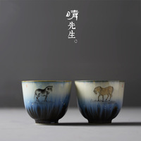 Jingdezhen hand painted horse master cup tea cup master s single cup Jiuting collection