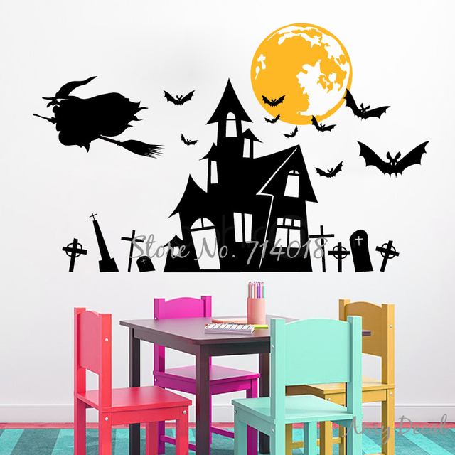 Witchu0027s Haunted House Halloween Wall Decals Bats Moon Halloween Wall Stickers Home Interior Decor Vinyl  sc 1 st  AliExpress.com & Witchu0027s Haunted House Halloween Wall Decals Bats Moon Halloween ...